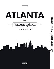 Poster city skyline Atlanta, Flat style vector illustration