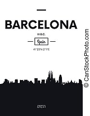 Poster city skyline Barcelona, Flat style vector illustration