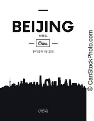 Poster city skyline Beijing, Flat style vector illustration