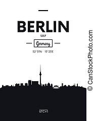 Poster city skyline Berlin, Flat style vector illustration