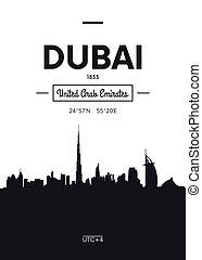 Poster city skyline Dubai, Flat style vector illustration