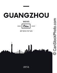 Poster city skyline Guangzhou, Flat style vector illustration