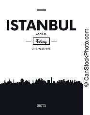 Poster city skyline Istanbul, Flat style vector illustration