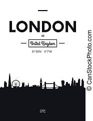 Poster city skyline London, Flat style vector illustration