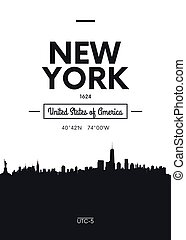 Poster city skyline New York, Flat style vector illustration