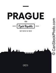 Poster city skyline Prague, Flat style vector illustration