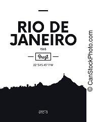 Poster city skyline Rio de Janeiro, Flat style vector illustration