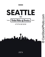Poster city skyline Seattle, Flat style vector illustration
