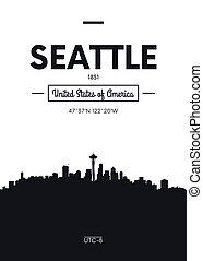 Poster city skyline Seattle, Flat style vector illustration