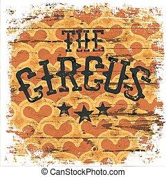 poster., classico, modello, isolato, circus., borders., grunge, cuori, invecchiato