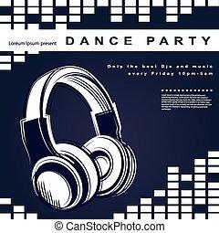 poster., club, affiche, vecteur, nuit, fête
