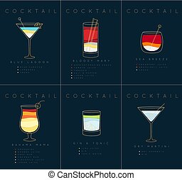 Poster cocktails Blue Lagoon dark blue - Set of flat...