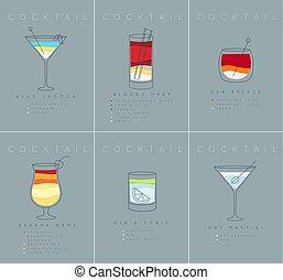 Poster cocktails Blue Lagoon grayish blue - Set of flat...