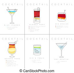 Poster cocktails Blue Lagoon - Set of flat cocktail posters...