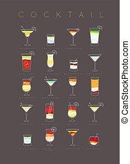 Poster cocktails flat brown - Poster flat cocktails menu...