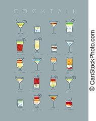 Poster cocktails flat grayish blue - Poster flat cocktails...