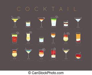 Poster cocktails flat menu brown - Poster flat cocktails...