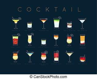 Poster cocktails flat menu dark blue - Poster flat cocktails...