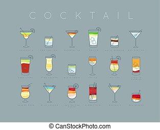 Poster cocktails flat menu grayish blue - Poster flat...