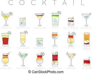 Poster cocktails flat menu - Poster flat cocktails menu with...