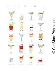 Poster cocktails flat - Poster flat cocktails menu with...