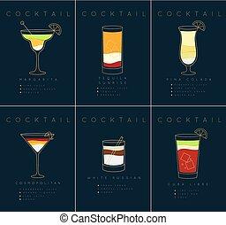 Poster cocktails Margarita dark blue - Set of flat cocktail...