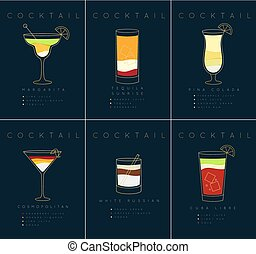 Poster cocktails Margarita dark blue