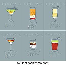 Poster cocktails Margarita grayish blue - Set of flat...
