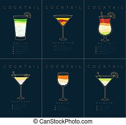 Poster cocktails Mojito dark blue - Set of flat cocktail...