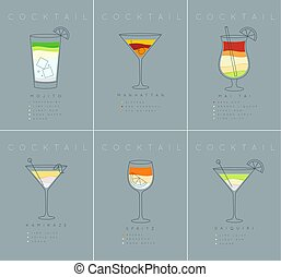 Poster cocktails Mojito grayish blue - Set of flat cocktail...