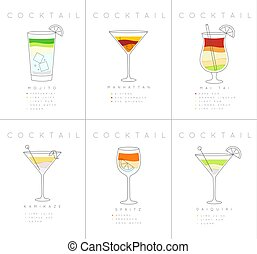 Poster cocktails Mojito - Set of flat cocktail posters...