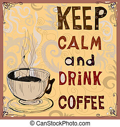 poster., coffee., drank, bewaren, vector, kalm, illustration...