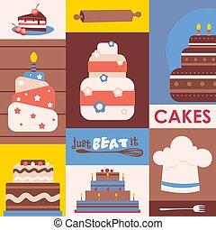 poster., collage, culinaire, coloré, style, classe, gâteaux,...