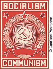 poster, communisme, -, socialism