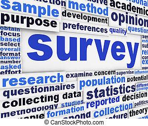 poster, concept, onderzoeken; inspecteren;