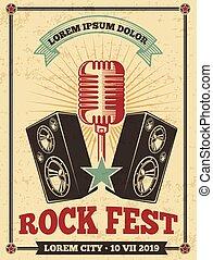 poster., concerto, festival, vendemmia, vettore, retro, fondo, roccia, rotolo