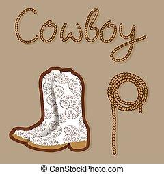 poster., cowboy, ovest, fondo, selvatico, tuo, design.