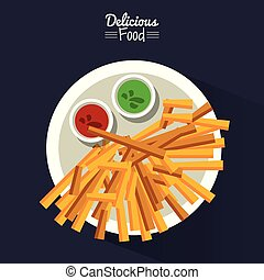 poster delicious food in black background with dish of fries with sauces