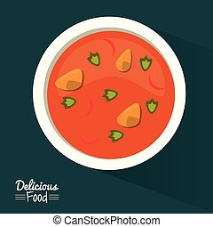 poster delicious food in dark blue background with dish of soup with vegetables