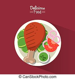 poster delicious food in purple background with dish of fried chicken with vegetables