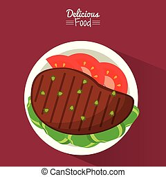 poster delicious food in purple background with dish of grilled meat with vegetables
