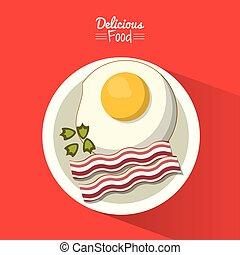 poster delicious food in red background with dish of fried egg with bacon