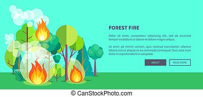 Poster Depicting Raging Forest Fire - Forest fire web poster...