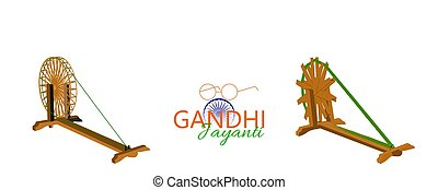 Poster design for 2 October birth anniversary of Mahatma Gandhi with eye glasses and charkha element