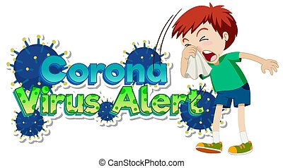Poster design for coronavirus theme with boy coughing