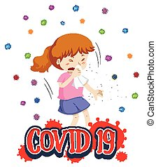 Poster design for coronavirus theme with girl coughing