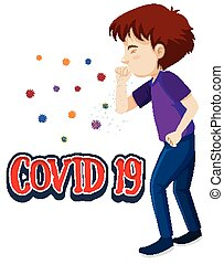 Poster design for coronavirus theme with man coughing