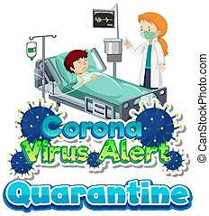 Poster design for coronavirus theme with sick boy in hospital