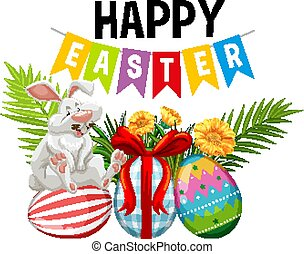 Poster design for easter with easter bunny and decorated eggs