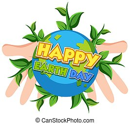 Poster design for happy earth day with human hands holding the earth